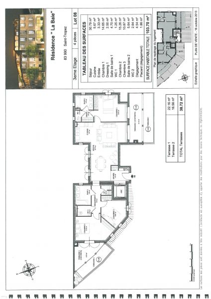 VENTE EN L'ÉTAT FUTUR D'ACHÈVEMENT  T4 - 3ème ÉTAGE - 103,70 m² - ORIENTÉ OUEST ET SUD       2 TERRASSES : 22,16 M² ET 16,56 M²